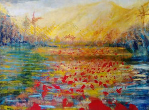 Original Painting-Travel Hawaii / Yellow Mountain - DavidDelany.com