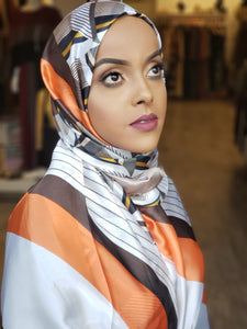 Silk Print Hijab - Orange/Brown/Silver Stripes