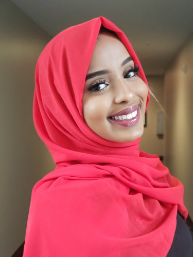 Red Chiffon Hijab - ZIZI Boutique
