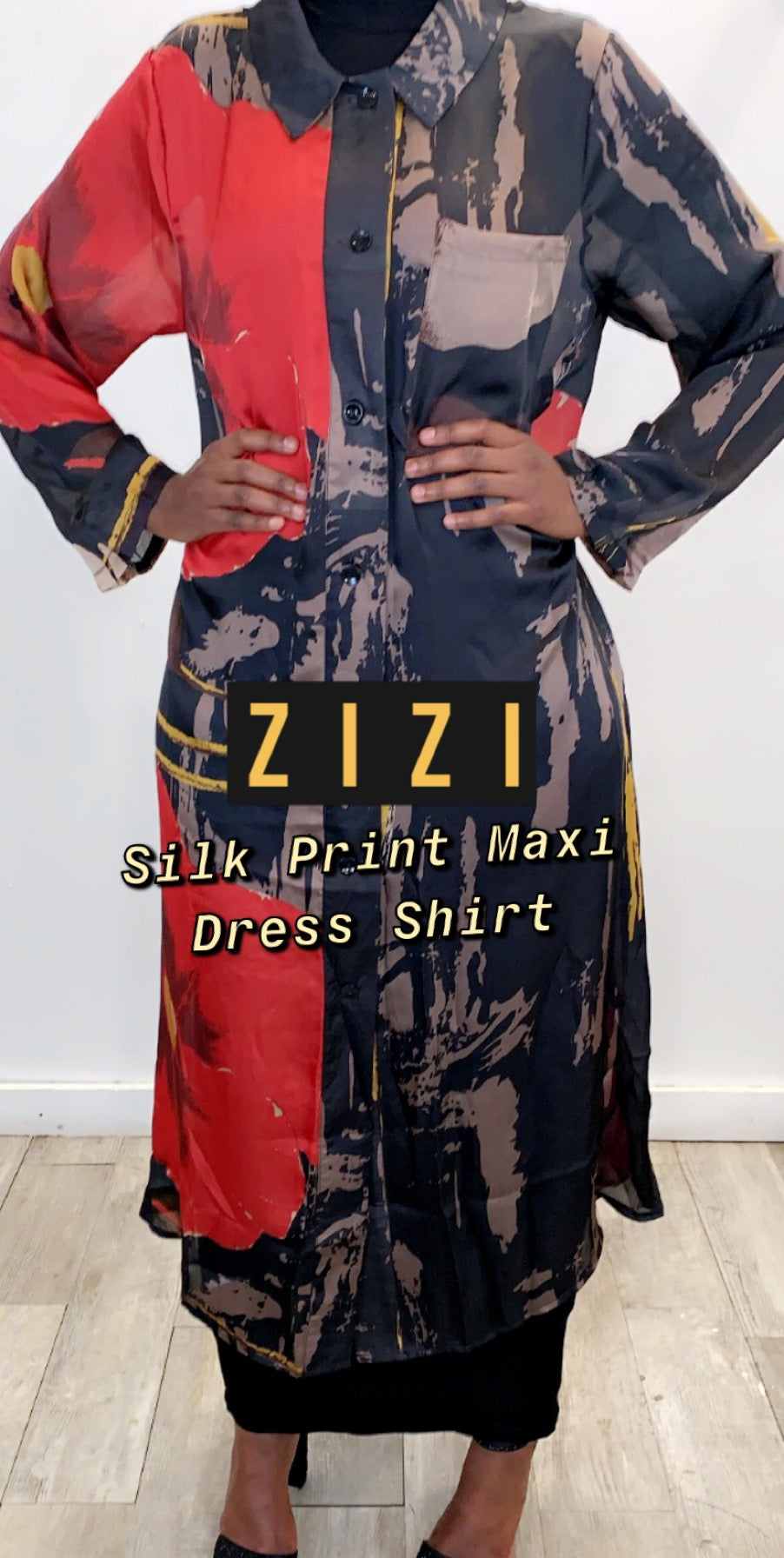 Silk Print Shirt (Maxi) - ZIZI Boutique