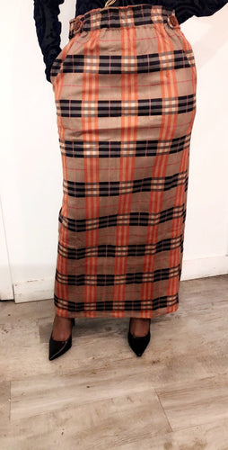 Plaid Button Maxi Skirt - ZIZI Boutique