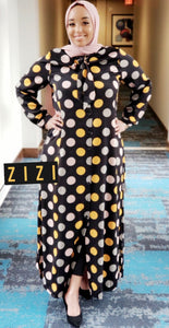 Polka Dot Dress Shirt (Maxi) - Black - ZIZI Boutique