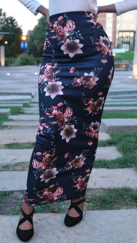 Peach & White Flowers Print Skirt, Navy Blue