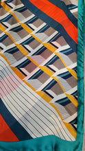 Silk Print Hijab - Green/Orange Stripes