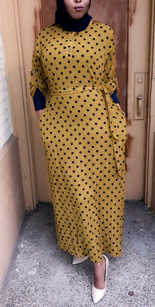 Mustard Polka Dot Maxi Dress