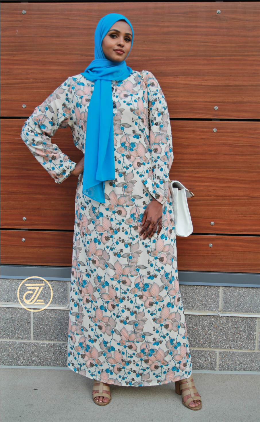 Mina Flower Maxi Dress - Peach + Azure Blue