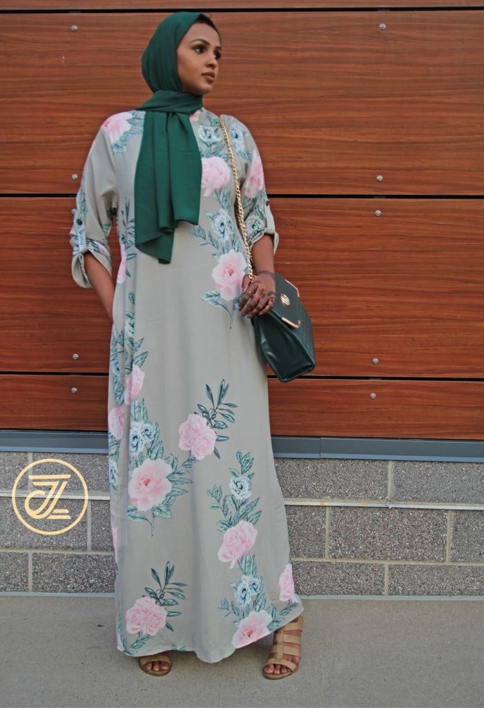 Mina Flower Maxi Dress - Mint Green Pink Flowers