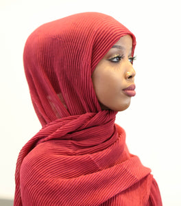ZZ Crinkle Hijab - Red - ZIZI Boutique