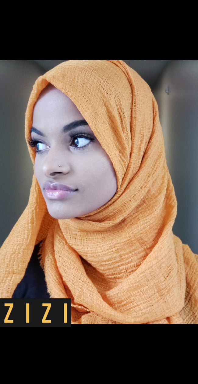 Cotton Wrinkle Hijab - Mustard Gold - ZIZI Boutique
