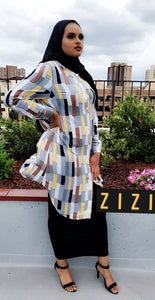 Multi blocks Dress Shirt (Midi) - ZIZI Boutique