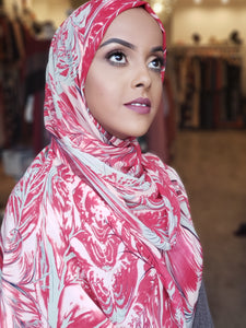 Chiffon Print Hijab - Red /Pink Swirls - ZIZI Boutique