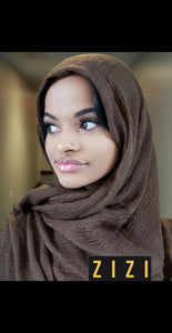Cotton Wrinkle Hijab - Dark Brown - ZIZI Boutique