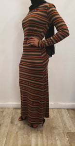 Winter Maxi Dress - Tan/Brown/Orange Stripe - ZIZI Boutique