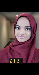 Cotton Wrinkle Hijab - Burgundy - ZIZI Boutique