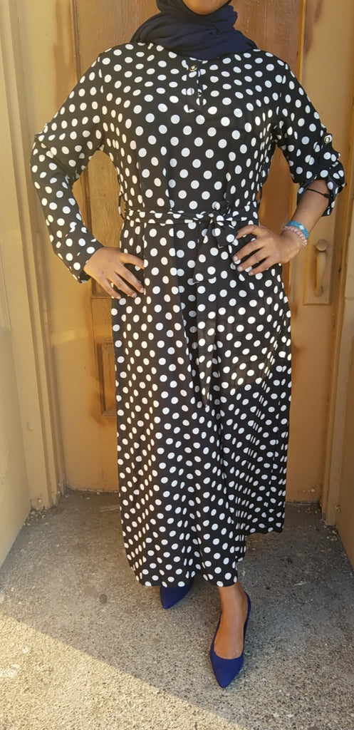 Black Maxi Dress with White Polka Dots