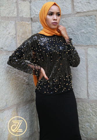 Gold Studded Black Shiny Top