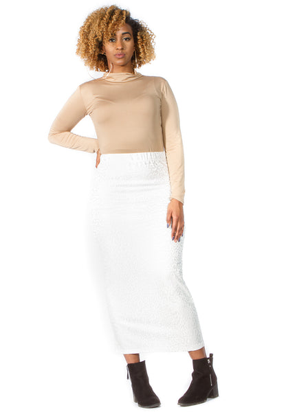 Glo Gloria White Maxi Skirt