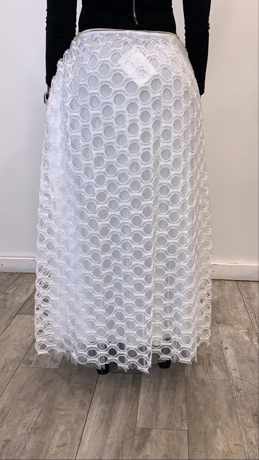 Circle Evening Skirt - White - ZIZI Boutique