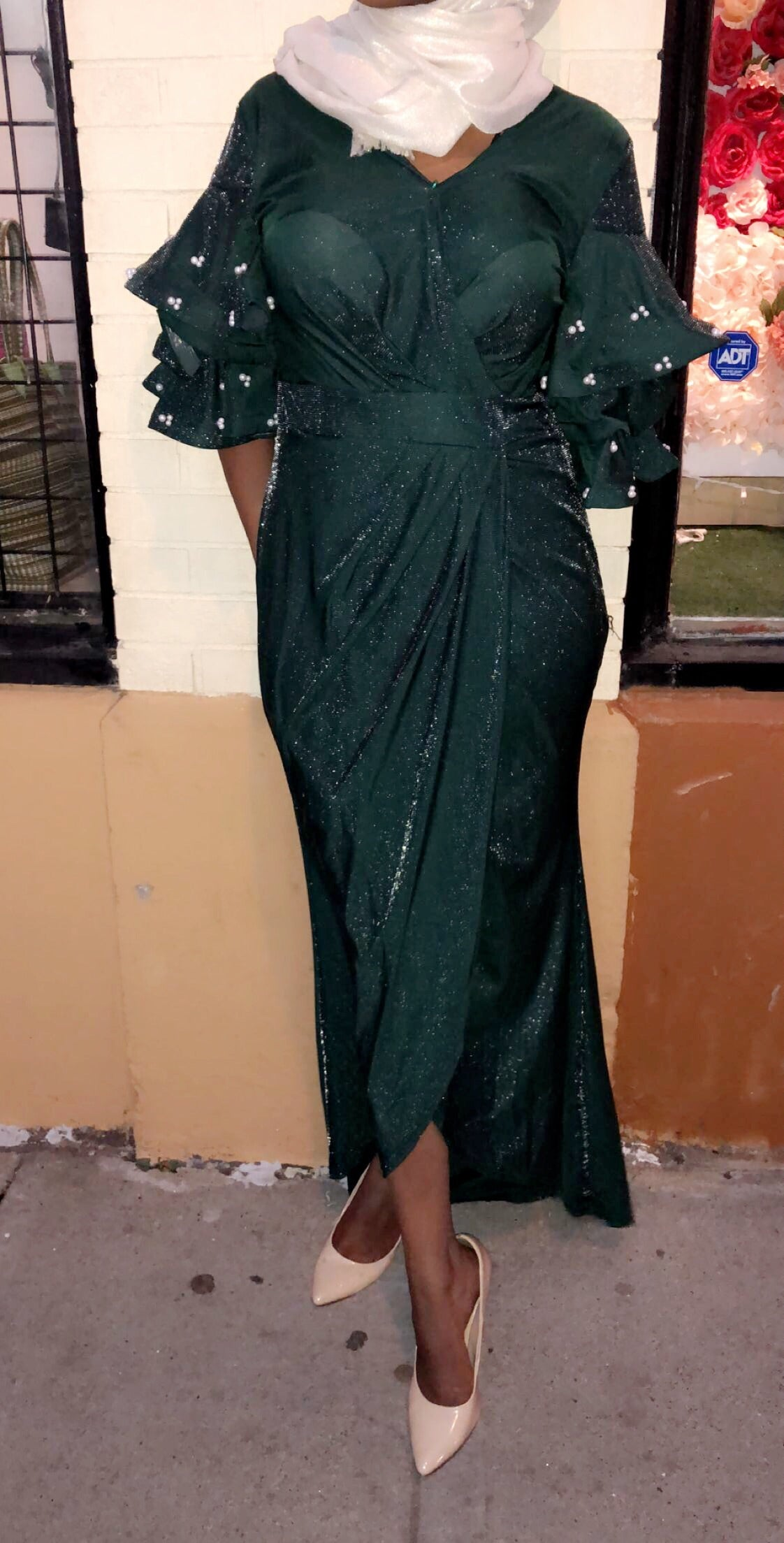 Vintage Pearls Evening Dress - Green
