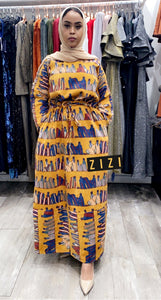 Mustard Multicolor Winter Dress - ZIZI Boutique