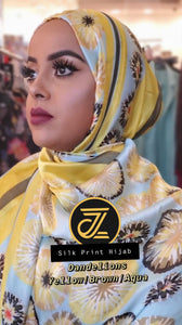 Silk Print Hijab - Dandelions- Yellow/Brown/Aqua - ZIZI Boutique