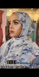 Cotton Print Hijab - Greyblue/Peach Flowers