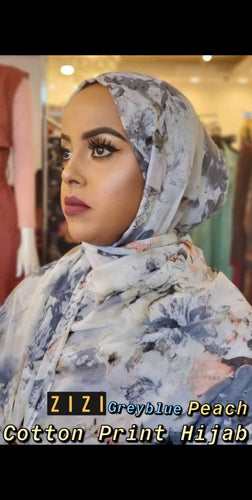 Cotton Print Hijab - Greyblue/Peach Flowers - ZIZI Boutique