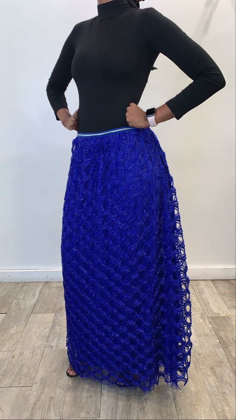 Circle Evening Skirt - Royal Blue - ZIZI Boutique