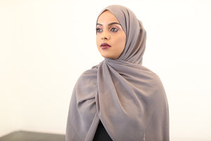 Dark Grey Chiffon Hijab - ZIZI Boutique