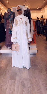 B Design Abaya - White & Gold