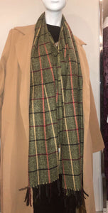 Winter Print Scarf -Olive Green Plaid - ZIZI Boutique
