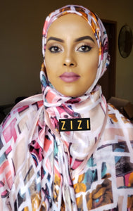 Silk Print Hijab - Baby Pink Multicolor Box Print - ZIZI Boutique