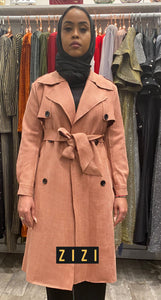 Suede Trench Coat - Pink