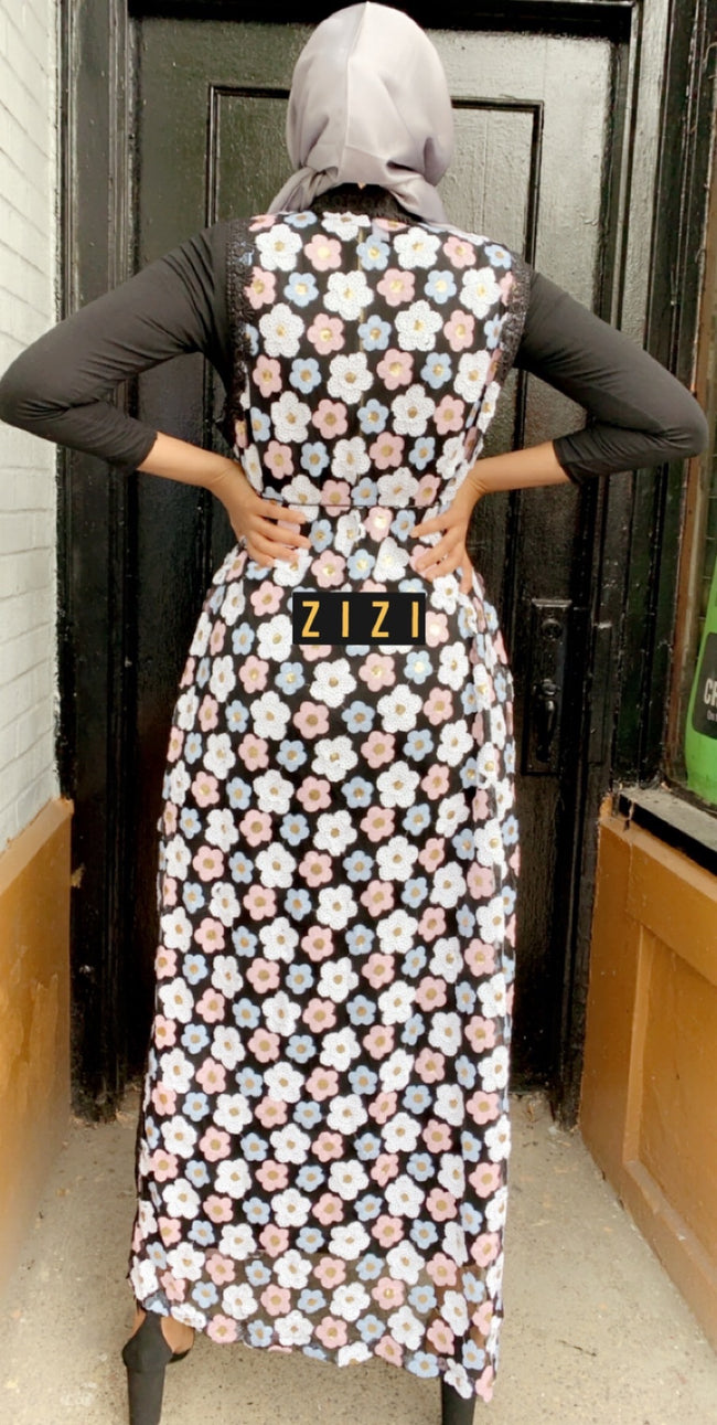 ZZ Design Abaya - Black Multicolor Flowers - ZIZI Boutique