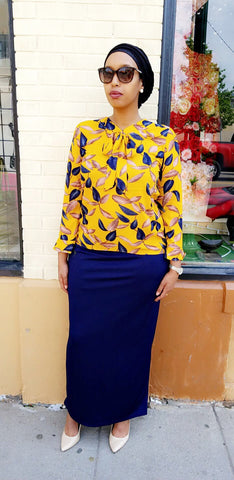 Vintage Skirt & Top Set - Yellow / Navy Blue