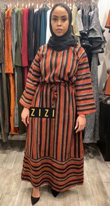 Orange/Green/Black Thinstripe Winter Dress - ZIZI Boutique