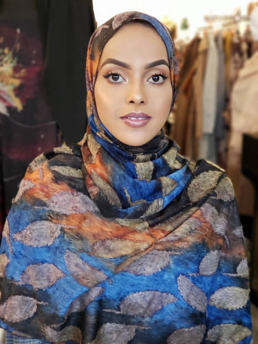 Misbal Print Hijab - Orange/Blue Leaves