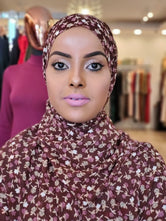 Chiffon Print Hijab -  Brown + Pink Mini Flowers