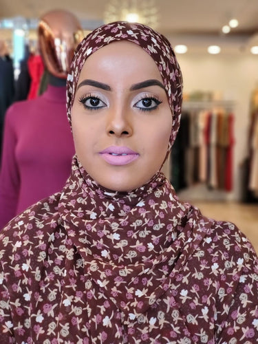 Chiffon Print Hijab -  Brown + Pink Mini Flowers - ZIZI Boutique