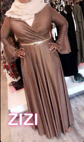 Shimmering Pearls Evening Dress - Brown