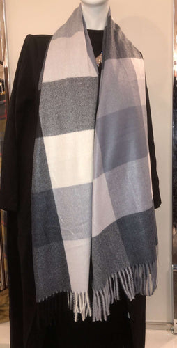 Winter Scarf - White/Grey/Black Checkered - ZIZI