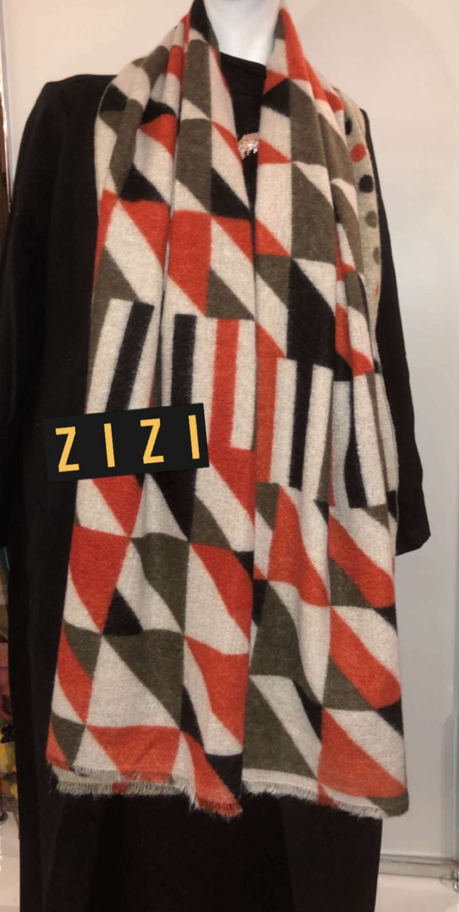 Winter Print Scarf - Red/Grey/Black - ZIZI Boutique