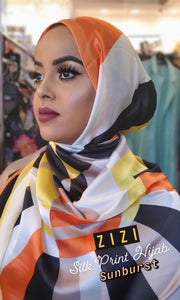 Silk Print Hijab - Sunburst - ZIZI Boutique