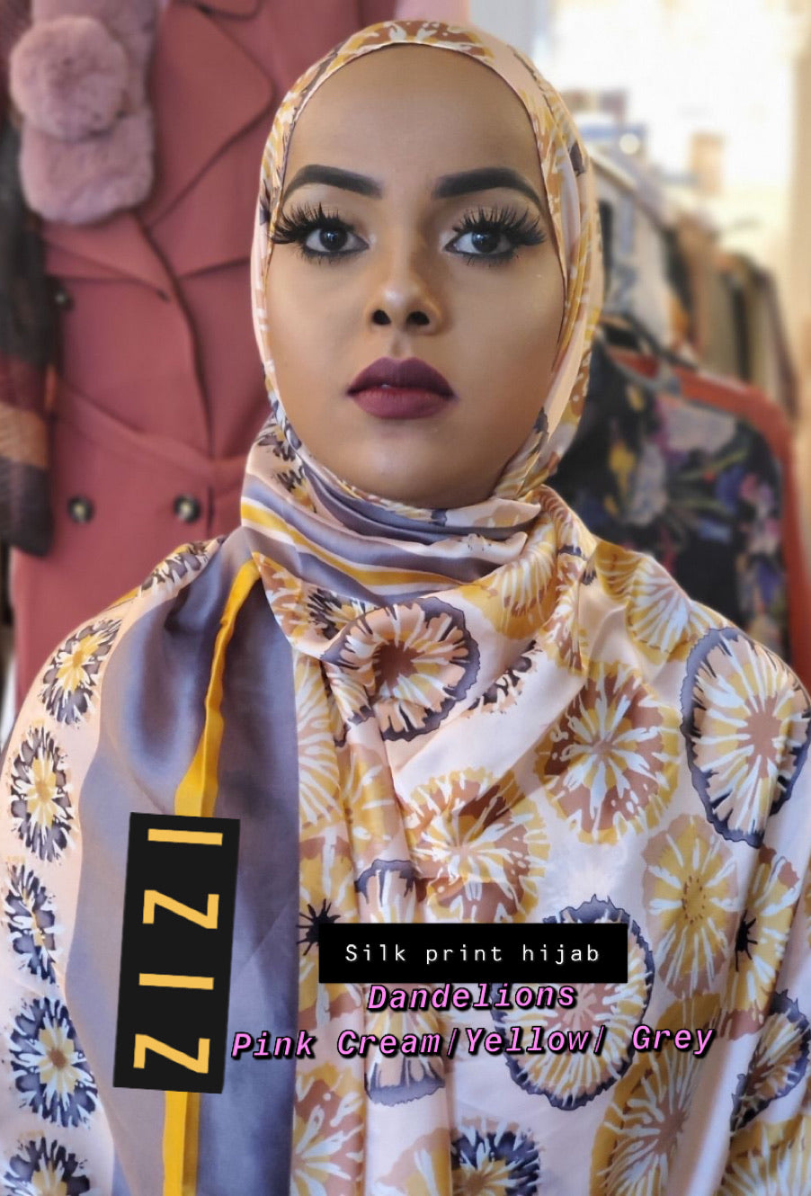 Silk Print Hijab - Dandelions- Pink Cream/Yellow/Grey - ZIZI Boutique
