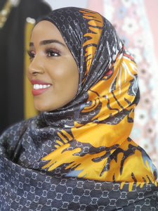 Silk Print Hijab - Grey/Yellow - ZIZI Boutique