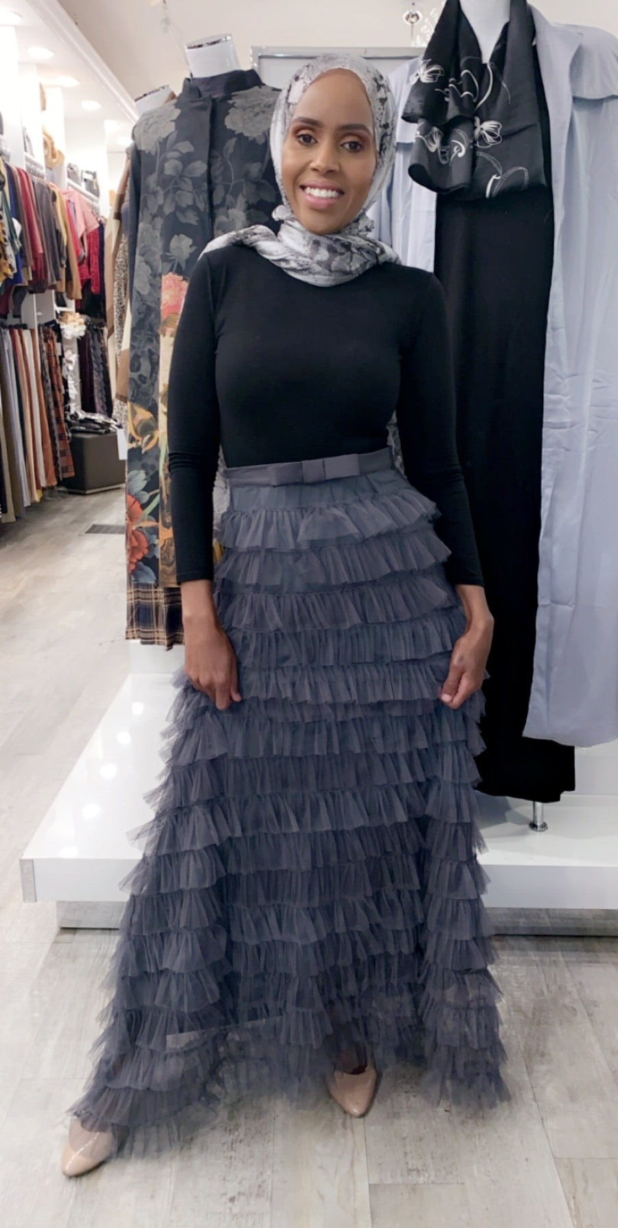 Layered Ruffle Skirt - Dark Grey - ZIZI Boutique