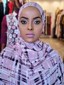 Chiffon Print Hijab - Light Lavender/White/Black Stripe - ZIZI Boutique