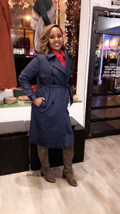 Suede Trench Coat - Navy Blue