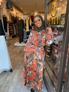 Snake Print Dress - Orange - ZIZI Boutique
