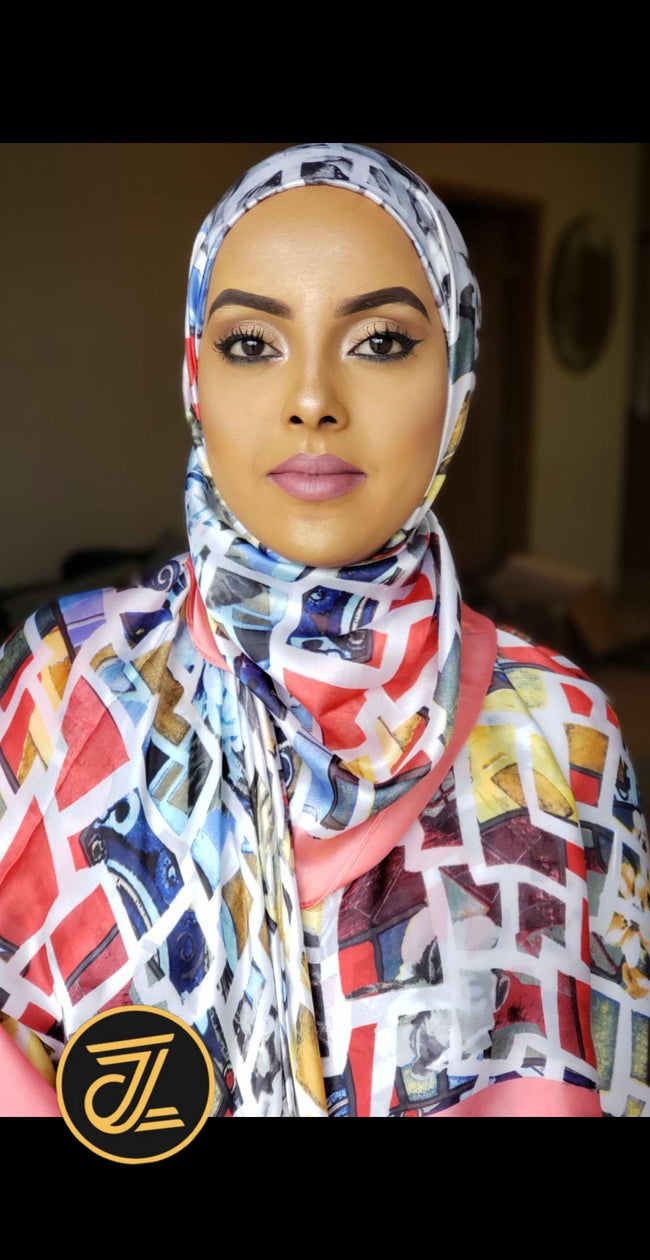 Silk Print Hijab - Bubblegum Multicolor Box Print - ZIZI Boutique